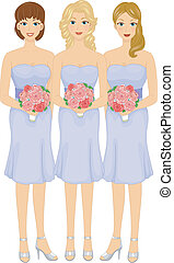 Bridesmaids - Illustration Featuring Lovely Bridesmaids...