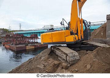 bridge., 建造する, 掘削機