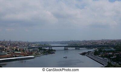 Bridge across the Bosphorus in Istanbul, time lapse video of...