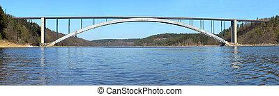 Bridge across the river - Bridge over Moldaur. Massive steel...