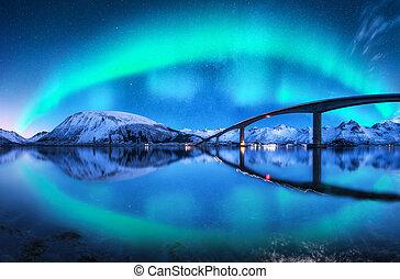 Bridge and aurora borealis over snowy mountains