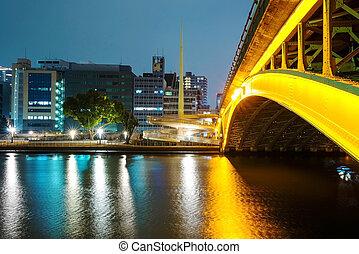 Bridge and buildings along Yodo river