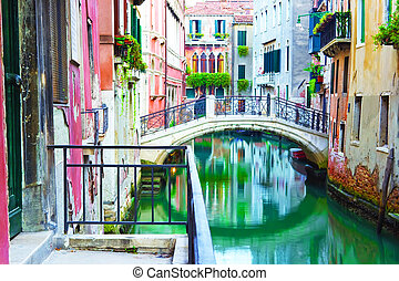 Beautiful bridge over a canal in Venice, Italy