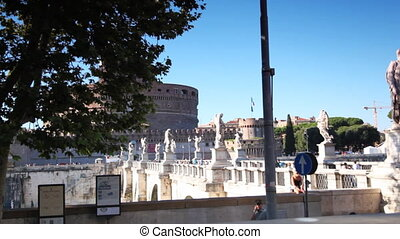 Bridge and Castel Sant Angelo in Rome - bridge and Castel...