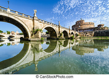 Bridge and castle Sant Angelo, Rome, Italy