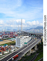 bridge and container terminal  in Hong Kong