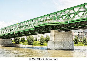 Bridge and Danube river in Bratislava, Slovakia