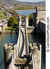 Bridge and gate tower for Conwy Castle