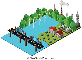 Bridge and power station in 3D design