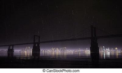 Bridge and rain at night