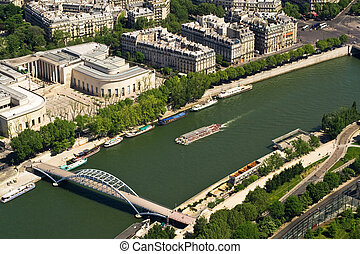 Bridge and ship on Seine, Paris