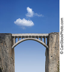 Bridge and Sky - Stone bridge connecting two cliffs