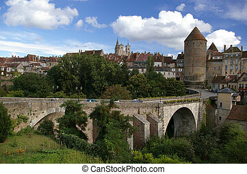Bridge and tower in beautiful medieval town in France - ...