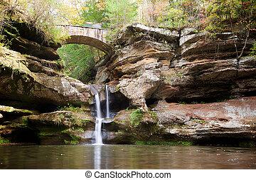 Bridge and Waterfall in Hocking Hills State Park, Ohio -...