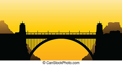 Bridge Arch - Silhouette of a road bridge with columns and a...