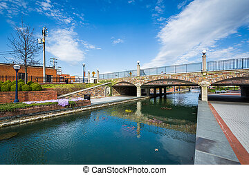 Bridge at Carroll Creek Linear Park, in Frederick, Maryland.