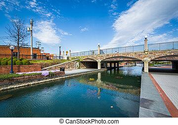 Bridge at Carroll Creek Linear Park, in Frederick, Maryland.