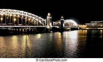 bridge at night time lapse