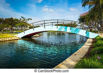 Bridge at Rainbow Lagoon Park in Long Beach, California.
