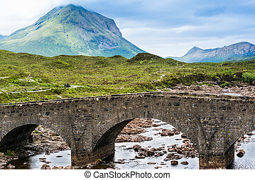 Bridge on Sligachan with Cuillins Hills in the background, Scotland, United Kingdom