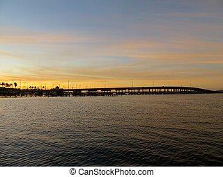 Bridge at sunset in Bradenton, Florida near the Riverwalk