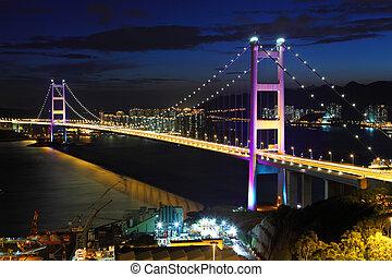 Bridge at sunset in Hong Kong