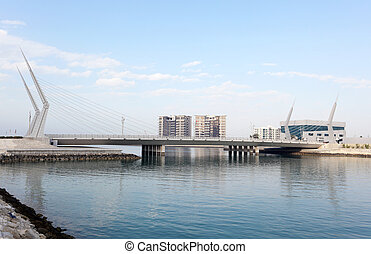 Bridge at the financial harbour marina in Manama, Bahrain, Middle East