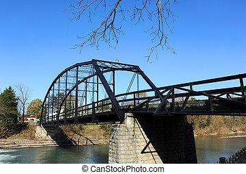 Bridge at War Eagle Mills in Arkansas - Black steel bridge ...