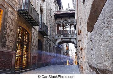 Barri Gotic quarter of Barcelona, Spain - Bridge between ...
