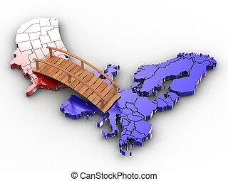 Bridge between europe and usa. 3d