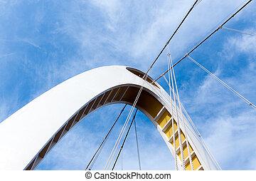 Bridge bottom view - Bottom view of modern bridge arch...