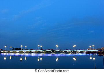 bridge building landscape in the evening