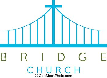bridge church religious concept vector design template