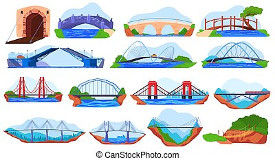 Bridge collection, set of different stickers isolated on white, vector illustration