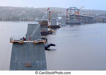 bridge construction a rainy day