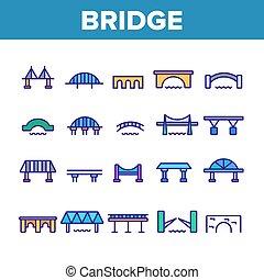 Bridge Construction Collection Icons Set Vector