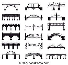 Bridge construction silhouette. River bridge architecture building, bridge transportation carriageway silhouette vector illustration icons set. Building architecture, railway and pedestrian