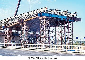 bridge., construction, vue, site