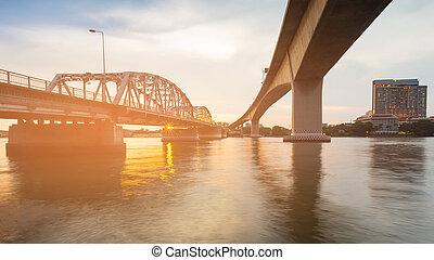 Bridge cross over river in Bangkok city