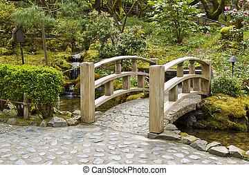 Bridge crossing stream in Japanese Garden