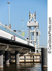 bridge crossing the river IJssel
