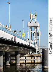 bridge crossing the river IJssel - Details of architecture...