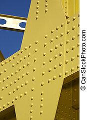 Bridge Detail - Detail of Yellow Bridge under very Blue Sky