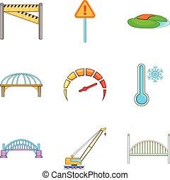 Bridge erection icons set, cartoon style - Bridge erection...