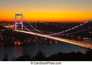 bridge - Fatih Sultan Mehmet Bridge at evening