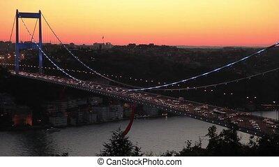 bridge - Fatih Sultan Mehmet Bridge at night