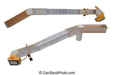 bridge for loading passengers on airplane 3d rendering -...