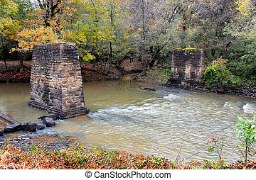 Bridge Foundation Remains - River washes past two old, stone...