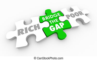 Bridge Gap Between Rich and Poor Puzzle Pieces 3d Illustration