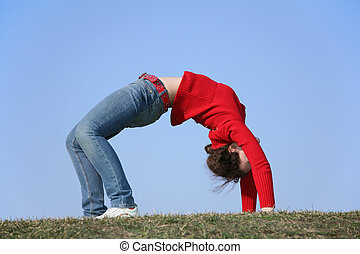 bridge gym girl on meadow